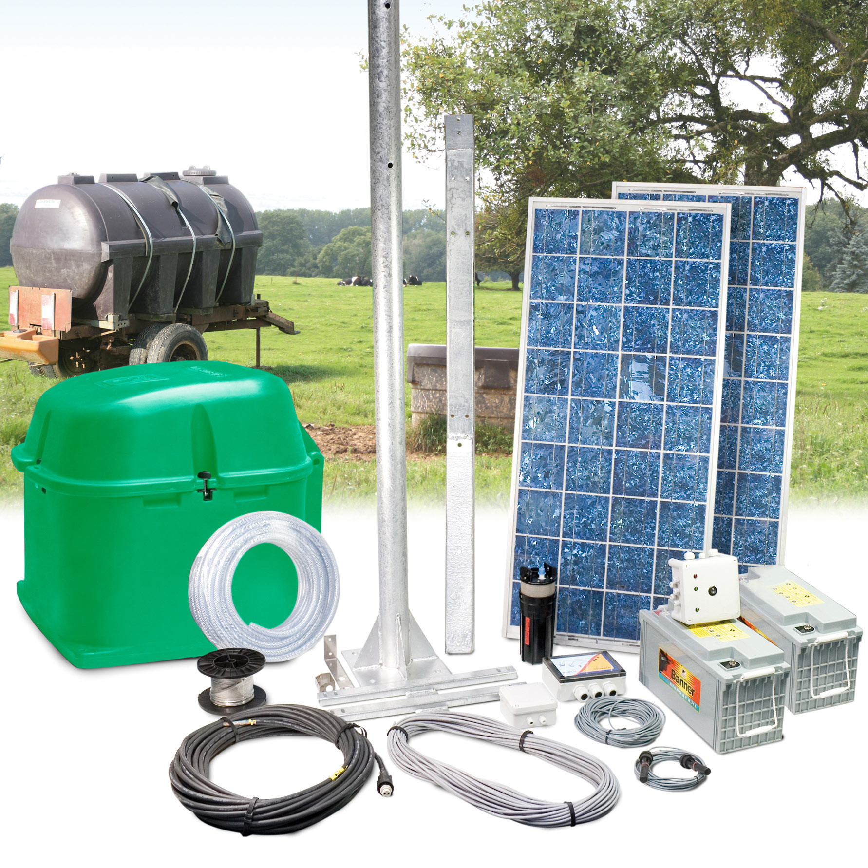 Autonomous solar pump set with batteries