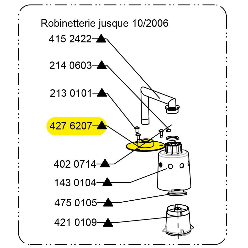 SUPPORT ROBINETTERIE INOX TH B  (pièce de rechange)