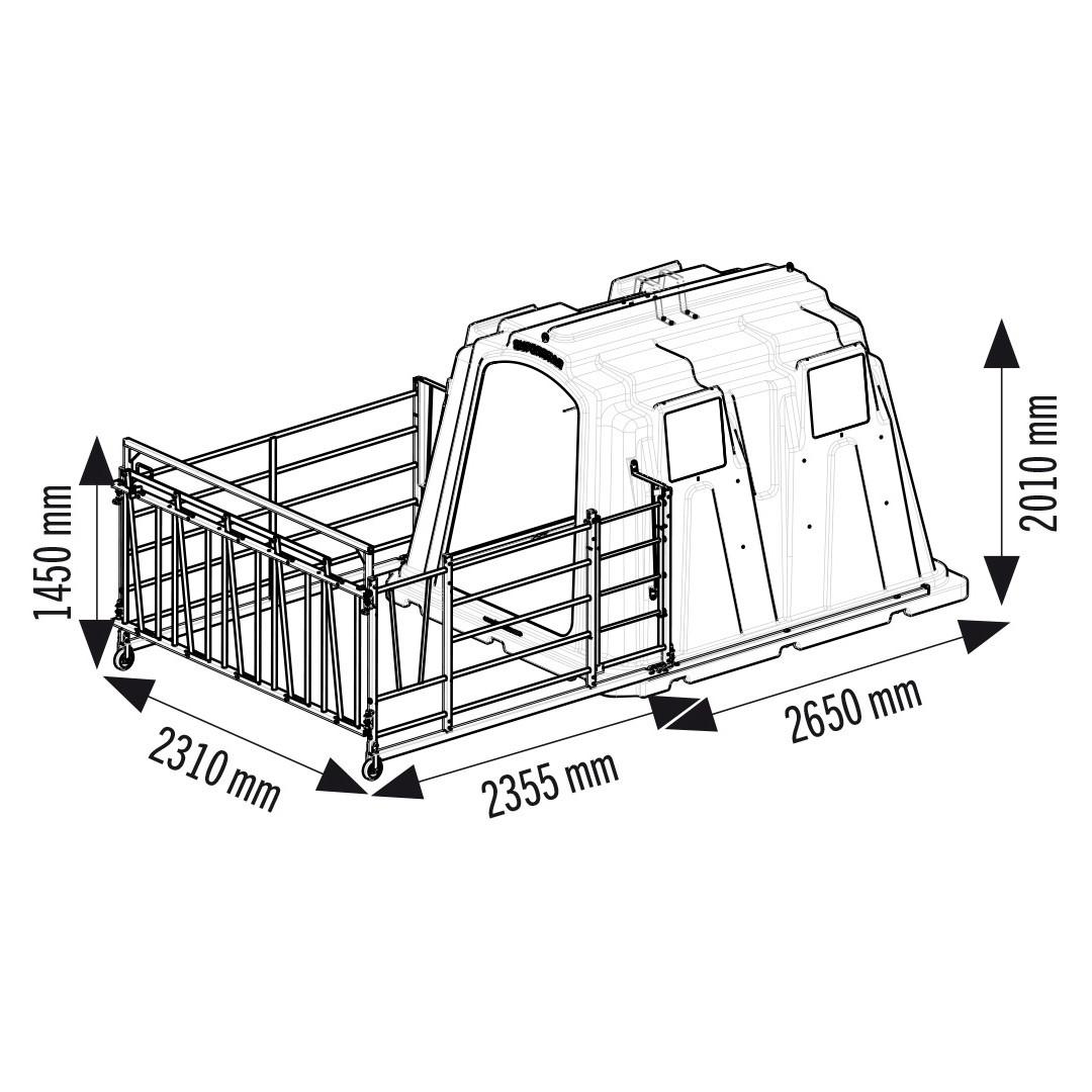 Parc en acier galvanisé avec cornadis 5 places pour niche SUPERSTAR